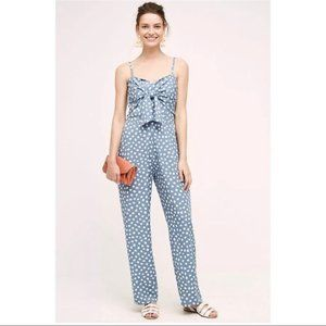 NEW Anthropologie Knotted Dot Jumpsuit